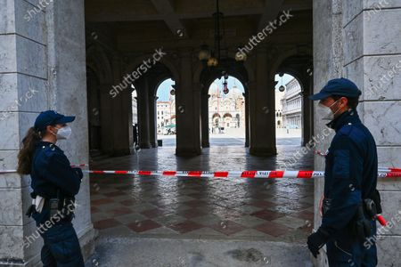 Editorial image of Piazza San Marco closed for a video appeal by Zucchero, Venice, Italy - 02 May 2020