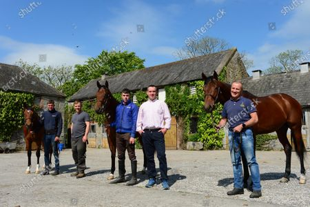 Stock Image of Ballyhannon House Stables, Quin, Co.Clare. Trainer Johnny Hassett with pictured with staff Patrick McLoughlin, Shane O'Brien, Evan McNamara and Dean Cawley and breeze up horses by stallions American Pharoah, Gleneagles and Candy Ride ahead of this year's sales which were delayed because of Covid 19.