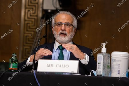 Nicholas Calio president and CEO of Airlines for America testifies during his opening statement on Capitol Hill, in Washington D.C.,, during a United States Senate Commerce, Science and Transportation Committee, on the state of the aviation industry and the impact of the Coronavirus pandemic.