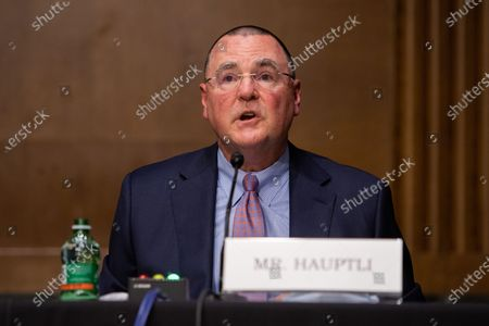Todd Hauptli, president and CEO of the American Association of Airport Executives, testifes during his opening statement on Capitol Hill, in Washington D.C., during a United States Senate Commerce, Science and Transportation Committee, on the state of the aviation industry and the impact of the Coronavirus pandemic.