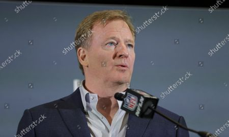 Commissioner Roger Goodell speaks during a news conference in Miami. The NFL has set protocols for reopening team facilities and has told the 32 teams to have them in place by May 15. In a memo sent by Goodell and obtained by The Associated Press, several phases of the protocols were laid out. The first phase would involve a limited number of non-player personnel, initially 50 percent of the non-player employees (up to a total of 75) on any single day, being approved to be at the facility. But state or local regulations could require a lower number