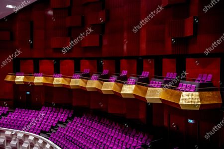 An empty hall in the De Doelen theater during musicians Farid Sheek and Maya Fridman concert in Rotterdam, the Netherlands, 07 May 2020. One third of the Dutch theater and concert stages that have missed out on turnover since the coronavirus is in danger of going bankrupt before the  summer.
