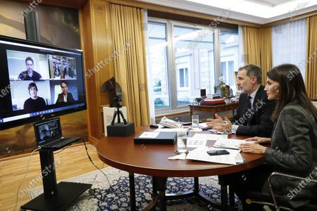 Editorial image of Spanish Royals working at Zarzuela Palace, Madrid, Spain - 29 Apr 2020