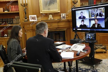 King Felipe VI of Spain, Queen Letizia of Spain attends videoconference with major national and international leaders in Spanish society at  Zarzuela Palace on April 29, 2020 in Madrid, Spain   Rafa Nadal, Isabel Coixet, Antonio Banderas, Maria Blasco, Valentin Fuster, Edurne Pasaban, Fernando Alonso