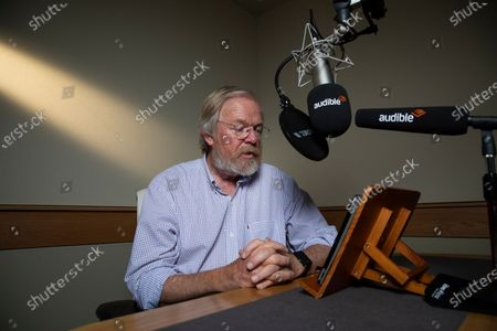 author Bill Bryson at the Audible studio where is narrating his new book - The Body: A Guide form Occupants.