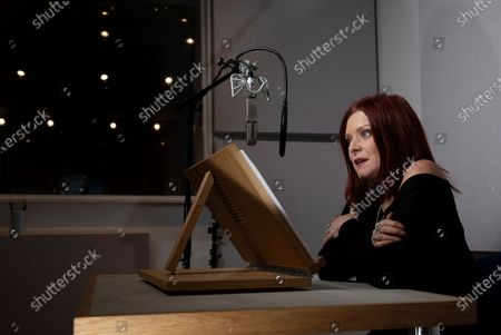 Stock Image of Actor Finty Williams in the recording studio at ID Studios in North London where she records many audio books for clients.Finty is the daughter of actress Judi Dench.