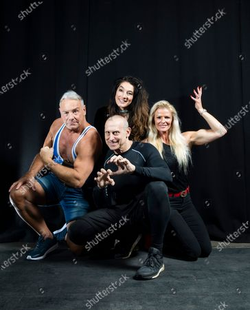 cast members from the 90's T.V show Gladiators at a Comicon Convention at Staffordshire University in Stoke-on-Trent. Fans can come and meet their heroes and buy signed prints and selfies.the Gladiators (clockwise from left) Michael Wilson(Cobra), Diane Youdale (Jet), Kim Betts (Lightning) and Michael Van Wijk(Wolf).