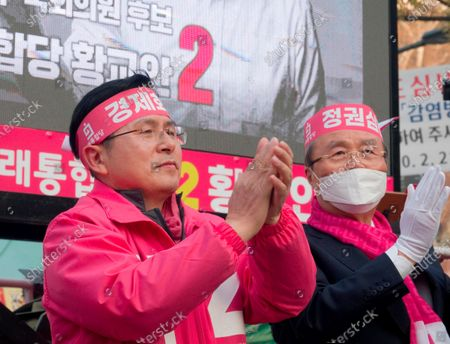 Hwang Kyo-ahn and Kim Chong-In, Apr 11, 2020 : Hwang Kyo-ahn (L), chairman of South Korea's main opposition United Future Party (UFP) and Kim Chong-In, chief of election committee of UFP during Hwang's election campaign for the April 15 parliamentary elections in Hwang's electoral district of Jongno Ward in Seoul, South Korea. Hwang's headband reads,'Economic Renewal'. Kim's headband reads,'Judgment on Government'. Hwang is running for the election in Jongno, a symbolic constituency in Korean politics where influences in politics are elected. Lee Nak-yeon, former prime minister of South Korea and a candidate of the ruling Democratic Party is also running in the constituency for the general elections. Lee and Hwang have been ranked as the first and second as the next president of South Korea in recent polls. The quadrennial elections will fill the 300-seat unicameral National Assembly of South Korea.