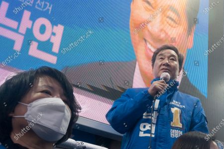 Lee Nak-yeon, Apr 11, 2020 : Former prime minister of South Korea and a candidate of the ruling Democratic Party for the April 15 general elections, Lee Nak-yeon (R) attends his campaign in Jongno district in Seoul, South Korea. Lee is running for the election in Jongno, a symbolic constituency in Korean politics where influences in politics are elected. Hwang Kyo-ahn, the leader of the conservative main opposition United Future Party (UFP), is also running in the constituency. Lee and Hwang have been ranked as the first and second as the next president of South Korea in recent polls. The quadrennial elections will fill the 300-seat unicameral National Assembly of South Korea.