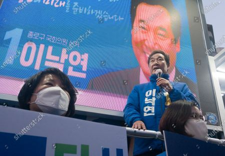 Lee Nak-yeon, Apr 11, 2020 : Former prime minister of South Korea and a candidate of the ruling Democratic Party for the April 15 general elections, Lee Nak-yeon (top) attends his campaign in Jongno district in Seoul, South Korea. Lee is running for the election in Jongno, a symbolic constituency in Korean politics where influences in politics are elected. Hwang Kyo-ahn, the leader of the conservative main opposition United Future Party (UFP), is also running in the constituency. Lee and Hwang have been ranked as the first and second as the next president of South Korea in recent polls. The quadrennial elections will fill the 300-seat unicameral National Assembly of South Korea.