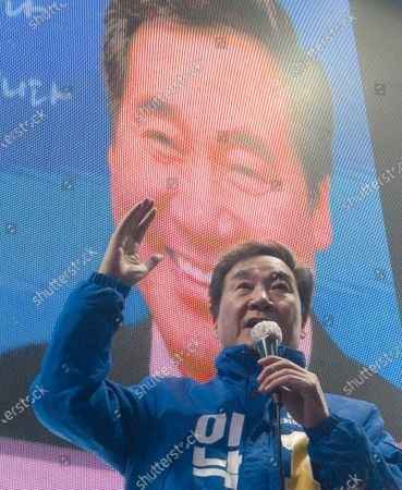 Stock Image of Lee Nak-yeon, Apr 11, 2020 : Former prime minister of South Korea and a candidate of the ruling Democratic Party for the April 15 general elections, Lee Nak-yeon attends his campaign in Jongno district in Seoul, South Korea. Lee is running for the election in Jongno, a symbolic constituency in Korean politics where influences in politics are elected. Hwang Kyo-ahn, the leader of the conservative main opposition United Future Party (UFP), is also running in the constituency. Lee and Hwang have been ranked as the first and second as the next president of South Korea in recent polls. The quadrennial elections will fill the 300-seat unicameral National Assembly of South Korea.