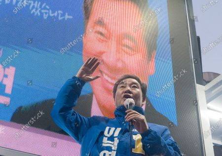 Stock Picture of Lee Nak-yeon, Apr 11, 2020 : Former prime minister of South Korea and a candidate of the ruling Democratic Party for the April 15 general elections, Lee Nak-yeon attends his campaign in Jongno district in Seoul, South Korea. Lee is running for the election in Jongno, a symbolic constituency in Korean politics where influences in politics are elected. Hwang Kyo-ahn, the leader of the conservative main opposition United Future Party (UFP), is also running in the constituency. Lee and Hwang have been ranked as the first and second as the next president of South Korea in recent polls. The quadrennial elections will fill the 300-seat unicameral National Assembly of South Korea.