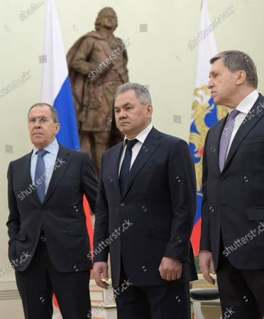 Talks between Russian President Vladimir Putin and Turkish President Recep Tayyip Erdogan. From left: Russian Minister of Foreign Affairs Sergey Lavrov, Minister of Defense of Russia Sergey Shoygu, Aide to the Russian President Yuri Ushakov attend the talks.