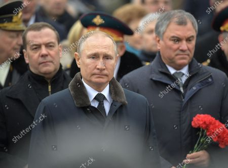 Wreath-laying ceremony at the Tomb of the Unknown Soldier in honor of Defender of the Fatherland Day. From left: Deputy Chairman of the Security Council of Russia, Chairman of the United Russia Dmitry Medvedev, President of Russia Vladimir Putin and Chairman of the State Duma of Russia Vyacheslav Volodin attend the ceremony