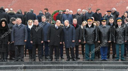 Wreath-laying ceremony at the Tomb of the Unknown Soldier in honor of Defender of the Fatherland Day. From left: Chairman of the Federation Council of Russia Valentina Matviyenko, Chairman of the State Duma of Russia Vyacheslav Volodin, Deputy Chairman of the Russian State Duma Irina Yarovaya, Chairman of the United Russia Dmitry Medvedev, Assistant to the President of Russia Anatoly Seryshev, Russian Prime Minister Mikhail Mishustin, President of Russia Vladimir Putin, Presidential Plenipotentiary to the Federation Council of Russia Artur Muravyov, Deputy Chairman of the State Duma of Russia Olga Timofeeva, Minister of Defense of Russia Sergey Shoygu and Russia's Prosecutor General Igor Krasnov attend the ceremony