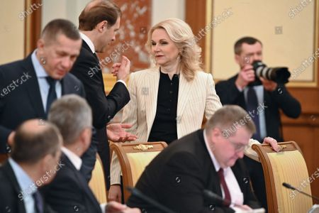 Meeting of the Russian Government. Deputy Prime Ministers of Russia Tatyana Golikova (second from right) and Minister of Industry and Trade of Russia Denis Manturov (third from right) are seen before the meeting.March 05 2020. Russia, Moscow Photo credit: Alexander Miridonov/Kommersant