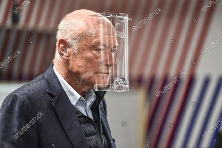 French Nouvelle-Aquitaine president Alain Rousset visits Cap Sciences Fablab. The place is totally dedicated to build protective visors during sanitary containment caused by the Covid-19 crisis. In Bordeaux, april 29, 2020.