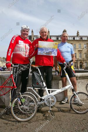 Phil LIGGETT (Blue) President CTC awards Dr Alex MOULTON (Center with honary membership and right is David DUFFIELD. Hon Membership CTC for Alex Moulton Bath May 2004