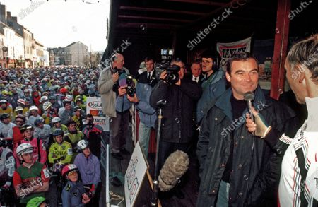 Sean KELLY retirement events 18-12-94 Phil LIGGETT (Right) with Bernard Hinault (Fra) facing him Winner Tour de France 5 x times, Laurent Fignon (Fra), Claude Criquelion (B),Roger DeVlaeminck (B), Stephen Roche & Martin Early (Ire) competitors at start in High Street Carrick on Suir - Kelly's home town for retirement race. Kelly won