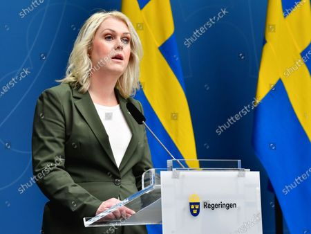 Sweden's Minister for Health and Social Affairs Lena Hallengren during a press briefing on Friday in Stockholm, Sweden, April 17, 2020 on the coronavirus (Covid-19) situation.