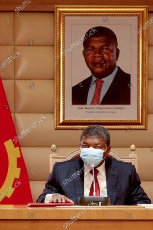 Stock Image of President of the Republic of Angola Joao Lourenco attends the meeting of the Council of the Republic on the situation of COVID-19 in the country, at the Presidential Palace in Luanda, Angola, 07 May 2020. The Council of the Republic of Angola prolonged the state of emergency due to increased risks of transmission of the new coronavirus, but called for a greater 'balance between social confinement and the situation of hunger'