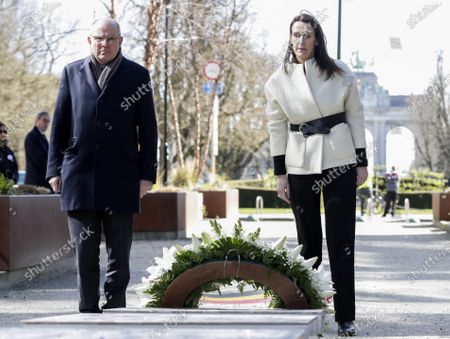 Minister of Justice Koen Geens and Belgian Prime Minister Sophie Wilmes attend the commemoration of the 2016 terrorist attacks in Brussels, at the Schumanplein - Place Schuman square, in the center of Brussels, Sunday 22 March 2020. On March 22 2016, 32 people were killed and 324 got injured in suicide bombings at Brussels airport and in the Brussels' subway. Due to the ongoing corona crisis, the commemoration is held in a ristricted group.