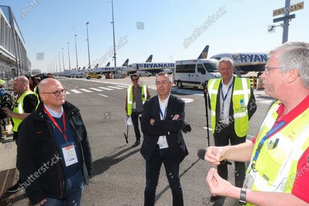 Minister of Budget and Finances Jean-Luc Crucke at Brussels South Charleroi airport visiting Ryanair during the Coronavirus - Covid-19 pandemic