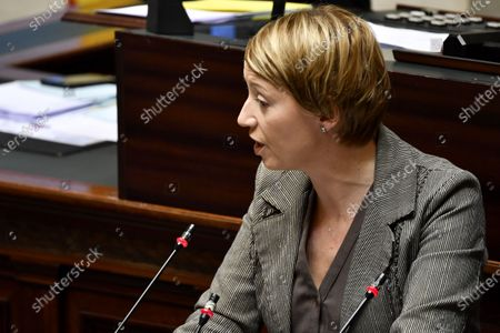 Stock Image of cdH's Catherine Fonck pictured during the discussion of the new government's declaration, during a plenary session of the chamber at the federal parliament, in Brussels, Thursday 19 March 2020. Due to the restrictive measures concerning the corona virus, only the chiefs of the party groups will be present during the discussion.