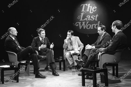 New York mayoral Conservative candidate Barry Farber, second left, gesturing as he makes a statement during a televised debate with other mayoral candidates, in New York. Others pictured are, from left: Democratic candidate, Edward Koch; moderator Gabe Pressman; Mario Cuomo, running as a Liberal; and Republican candidate Roy Goodman. Farber died of natural causes, at home in New York, a day after his 90th birthday, his daughter, Celia Farber, said