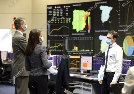 King Felipe VI, Queen Letizia visit the Electric System Control Center (CECOEL) at the Red Eléctrica de España headquarters, from which the generation and transportation facilities of the national electrical system are operated and supervised in real time