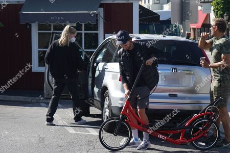 Stock Picture of Patrick Schwarzenegger, Abby Champion and Ralf Moeller out and about during quarantine