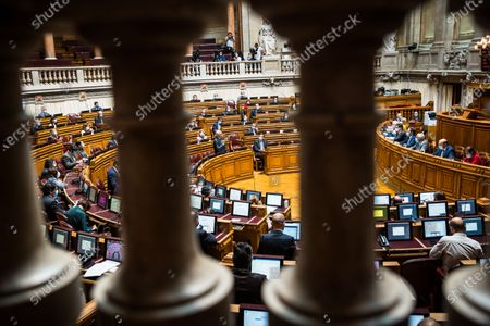 Rui Rio, leader of the PSD, speaks during the weekly session of Parliament. Since May 4 the use of a face mask is mandatory inside the Portuguese parliament in order to prevent the spread of the COVID-19 disease.
