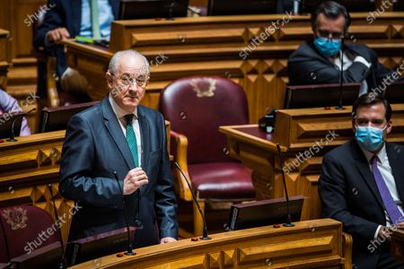Stock Image of Rui Rio, leader of the PSD, speaks during the weekly session of Parliament. Since May 4 the use of a face mask is mandatory inside the Portuguese parliament in order to prevent the spread of the COVID-19 disease.