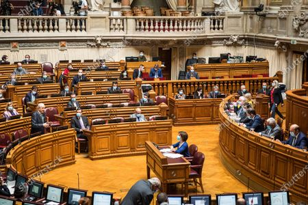 Stock Photo of Rui Rio, leader of the PSD, speaks during the weekly session of Parliament. Since May 4 the use of a face mask is mandatory inside the Portuguese parliament in order to prevent the spread of the COVID-19 disease.