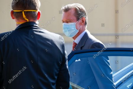 Grand Duc Henri of Luxembourg in a protective mask during a visit to a facility set up for the distribution of protective masks to citizens, in Mersch, Luxembourg, 08 May 2020. The population of Luxembourg will receive 50 masks per citizen over 16 years old amid the ongoing spread of the SARS-CoV-2 coronavirus, which causes the COVID-19 disease.
