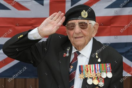Editorial picture of 100 year old D-Day veteran Don Sheppard, Essex, UK - 08 May 2020