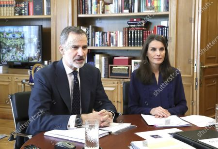 Stock Picture of King Felipe VI, Queen Letizia attends a videoconference with the livestock and dairy sector at Zarzuela Palace