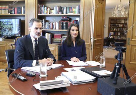 Editorial photo of Spanish Royals working at Zarzuela Palace, Madrid, Spain - 08 May 2020