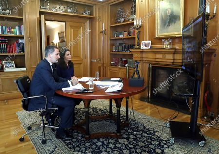 King Felipe VI, Queen Letizia attends a videoconference with the livestock and dairy sector at Zarzuela Palace