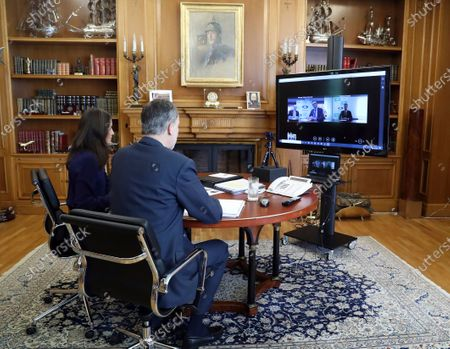 King Felipe VI, Queen Letizia attends a videoconference with the ANECOOP management team at Zarzuela Palace