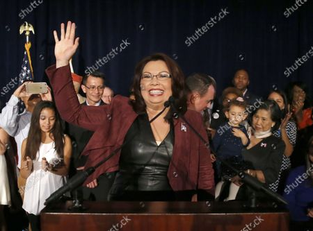 """Sen.-elect Tammy Duckworth, D-Ill., celebrates her win over incumbent Sen. Mark Kirk, R-Ill., during her election night party n Chicago. The PBS documentary series """"Asian Americans"""" that airs next week is a sweeping look at their impact on society, politics and pop culture between the mid-19th century and 9/11. The show features reflections from people like U.S. Sen. Tammy Duckworth and """"Fresh Off the Boat"""" star Randall Park. It's co-narrated by """"Hawaii Five-0"""" actor Daniel Dae Kim"""