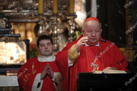 Stock Image of Cardinal Stanislaw Dziwisz (R) during the Holy Mass in the Wawel Cathedral in Krakow, the feast of Saint Stanislaus, bishop and martyr, the main patron of Poland, in Krakow, Poland,0 8 May 2020.