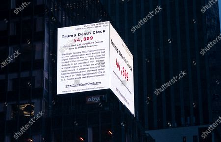 Trump Death Clock by filmmaker Eugene Jarecki is live on Times Square. 56-foot billboard displays estimated portion of U.S. COVID-19 deaths caused by President Trump's delayed response to the pandemic.