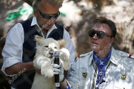 Siegfried Fischbacher, left, holds up a white lion cub as Roy Horn holds up a microphone during an event to welcome three white lion cubs to Siegfried & Roy's Secret Garden and Dolphin Habitat, in Las Vegas. Horn, one half of the longtime Las Vegas illusionist duo Siegfried & Roy, died of complications from the coronavirus, Friday, May 8, 2020. He was 75