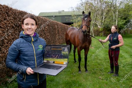 Katie Walsh with a two year old colt by Territories out of Miss Raven