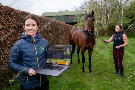 Stock Picture of Katie Walsh with a two year old colt by Territories out of Miss Raven