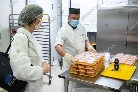 Stock Image of EP buildings used in the fight against COVID-19. Preparation and delivery of daily meals for people in need. Katarina Barley EP Vice-President visits the EP buildings where daily meals are prepared for people in need in the context of the COVID-19.