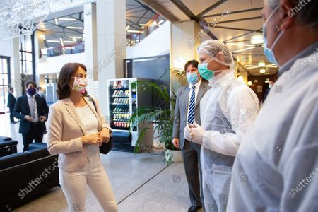 Stock Photo of EP buildings used in the fight against COVID-19. Preparation and delivery of daily meals for people in need. Katarina Barley EP Vice-President visits the EP buildings where daily meals are prepared for people in need in the context of the COVID-19.