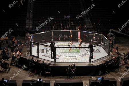 Stock Image of Michelle Waterson, center left, and Carla Esparza battle without spectators during a UFC 249 mixed martial arts bout, in Jacksonville, Fla