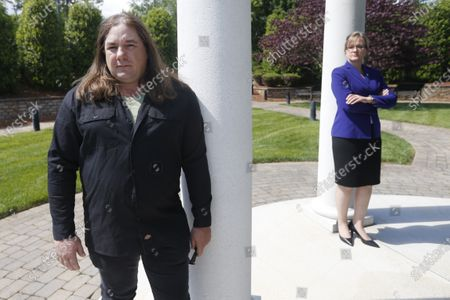 Halifax County Commonwealth's Attorney Tracy Martin, right, poses with Kevin Wynn at the Halifax County War Memorial, in Halifax, Va. Martin has objected to the geriatric release of Debra Scribner, 66, convicted in 2012 of first-degree murder, conspiracy and a firearms charge in the death of her son-in-law, Eric Wynn, who was the brother of Kevin Wynn